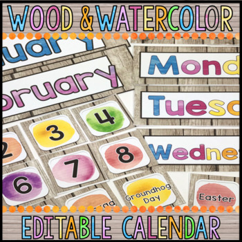 Editable Calendar Pieces/Days of Week/Months: Wood & Watercolor Decor