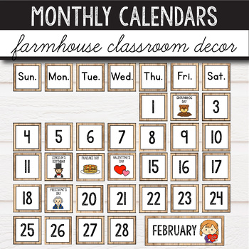 Editable Calendar Set -  Farmhouse Classroom Decor