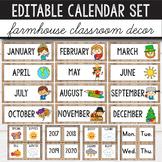 Editable Calendar Set Farmhouse Classroom Decor