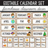 Editable Calendar Set -  Farmhouse Classroom Decor