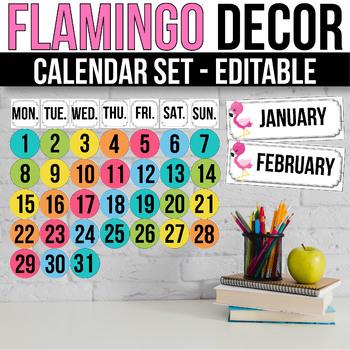 Editable Calendar Set, Flamingo Classroom Decor, Flamingo Calendar Theme