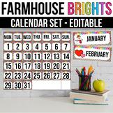 Editable Calendar Set, Modern Farmhouse Classroom Decor
