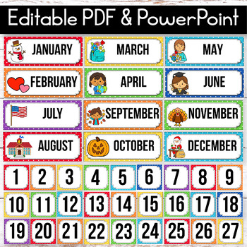 Editable Calendar Set, Polka Dot Classroom Decor, Polka Dot Calendar Theme