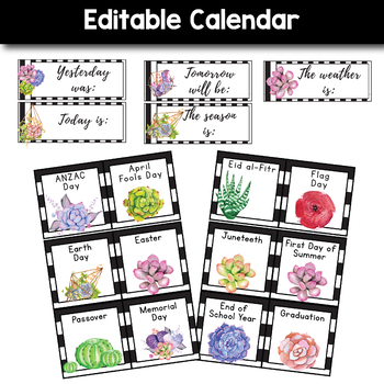 Editable Calendar Set -  Succulent Themed Classroom