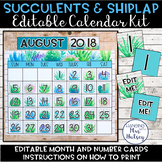 Editable Calendar (Succulent and Shiplap)