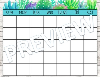 Editable Calendar (Succulent and Shiplap)