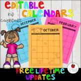 Editable Calendar Template-2019/2020-Lifetime Updates {Kid Calendar}