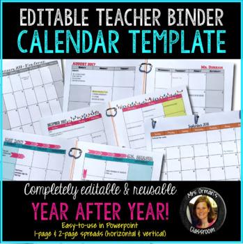 Editable Calendar Template for Teacher Binder