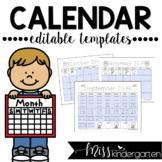 Editable Calendar Templates 2019-2020
