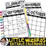 Editable Calendar Templates 2019-2020 | Lifetime Updates {Little Wizards Theme}