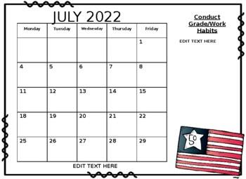 2017-2018 Calendar EDITABLE