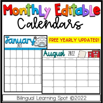 Editable Calendar Templates  - Color & B&W- LIFETIME Updates