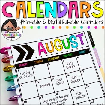 Editable Calendar Templates 2020-2021 | Chevron Design ...