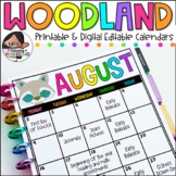 English, Spanish, & French Editable Calendars-Yearly Updates | Woodland Edition