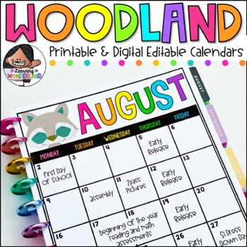 Editable Calendar Templates - Lifetime Updates {Woodland Edition}