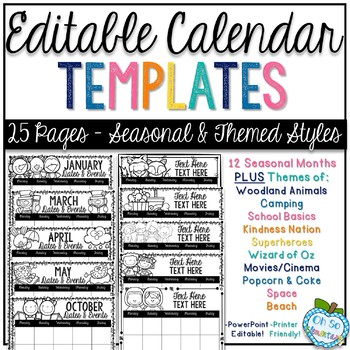 Editable Calendar Templates - Seasonal & Theme