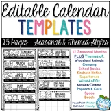 Editable Calendar Templates - Seasonal & Theme