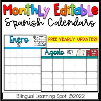 Editable Calendar Templates in Spanish - Color & B&W- LIFETIME Updates