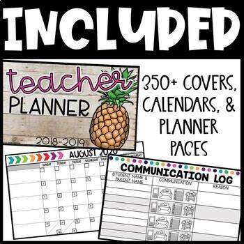 Editable Teacher Planner 2018-2019 Teacher Calendar - FREE UPDATES!