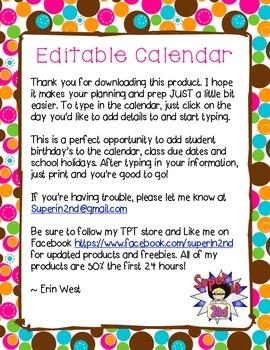 Editable Calendar for School Year 2014-2015