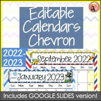 Editable Calendars 2016-2017 Chevron - August 2016 to December 2017