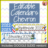 Editable Calendars 2018-2019 Chevron - July 2018 to December 2019