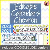 Editable Calendars 2016-2017 Chevron - August 2016 to Dece