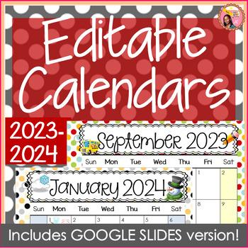 Editable Calendars 2016-2017 Polkadot - August 2016 to December 2017