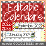 Editable Calendars 2018-2019 Polka Dot - July 2018 to December 2019