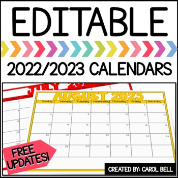 2018/2019 Editable Calendars (Color with Notes)