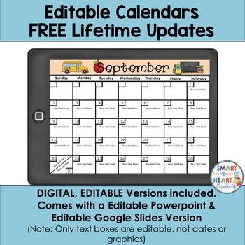 Editable Calendars 2018-2019 (LIFETIME UPDATES)