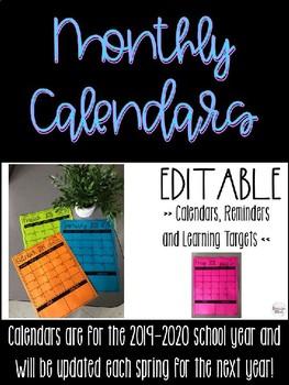 Editable Calendars {2019-2020}