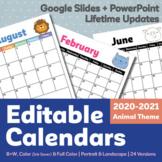 Editable Calendar 2020-2021 | Yearly Updates | Animal Them