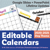 Editable Calendars 2020-2021   Yearly Updates   Dog Theme   Google Slides Ver.