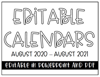 Editable Calendars (August 2018 - June 2019)