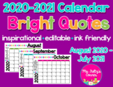 Editable Calendars: Bright Quotes 2020-2021