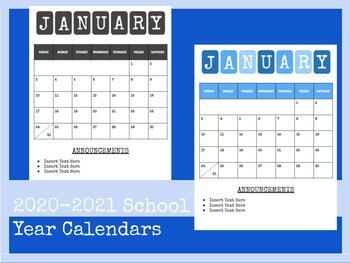 Black /& White Script Large Monthly Blotter July 2020 June 2021 Calendar