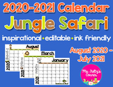 Editable Calendars: Jungle Safari Animals 2020-2021