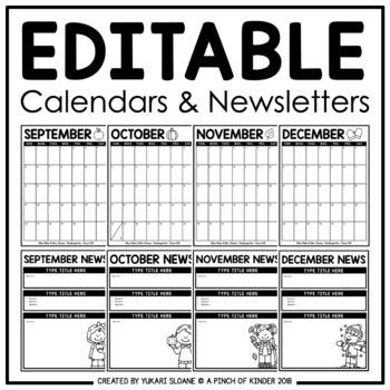 Editable Calendars & Newsletters: September 2019-June 2020