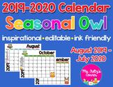 Editable Calendars: Owls 2019-2020