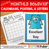 Editable Behavior Calendar - Behavior Chart - Monthly Calendar