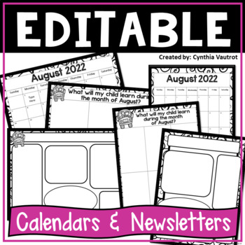 Editable Calendars and Newsletters {Black and White}