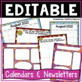 Classroom Newsletters and Teacher Calendars {editable} (Year Round Theme)