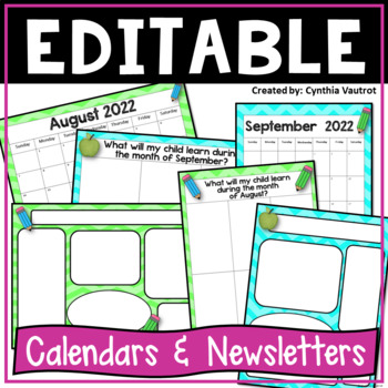 Editable Calendars and Newsletters {Lime Green & Turquoise}