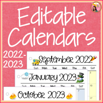 Calendar 2014 And 2020 Printable 2019 2020 Calendar Printable and Editable by Nyla's Crafty Teaching