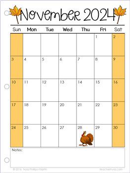Calendars 2018-2019 Editable by Nyla's Crafty Teaching   TpT