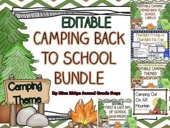 Back To School Camping Editable Bundle Flipbook, Powerpoin