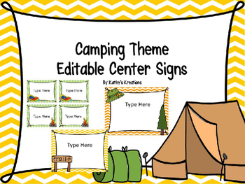 Editable Camping Center Signs