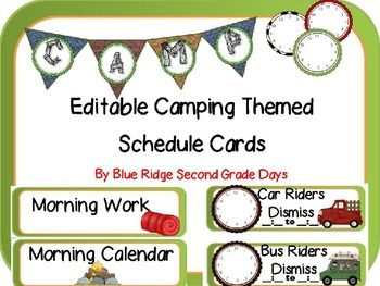 Editable Camping Schedule Cards