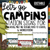 Editable Camping Theme |Station Signs for Open House |Meet the Teacher